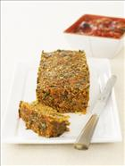 Veggie and Nut Loaf with Tomato and Olive sauce