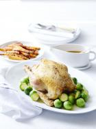 Roast Chicken with Carrots and Brussels Sprouts