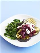 Chargrilled Eggplant, English spinach and Goat's Feta with Beetroot Relish